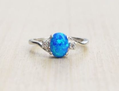Vintage 2.3Ct Blue Fire Opal Women 925 Silver Ring Gemstone Engagement Wedding Party