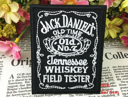 embroidered patch letter black white logo iron on patch applique cloth vest Badge jack daniels