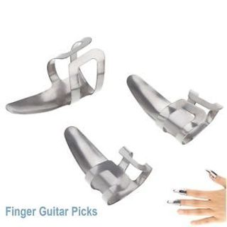 3 Pcs Durable Stainless Steel Metal Pick Finger Thumb Plectrums Picks For Guitar