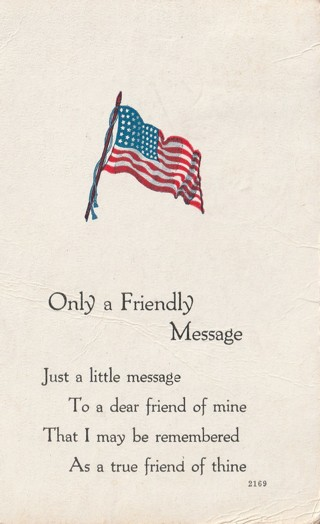 Vintage Used Postcard: 1917 Only a Friendly Message
