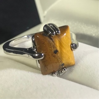 last Tiger Eye Ring - .925 Silver Plated Jewelry - Gemstone of focus & Freedom! Organza bag included