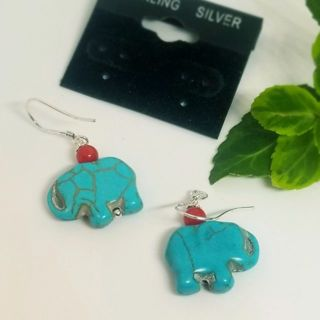 Lucky elephants sterling silver Turquoise coral drop earrings free ship