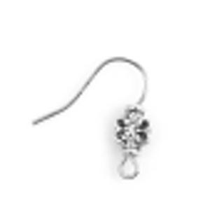One Pair Zinc Base Alloy Antique Silver Butterfly Ear Wire Hooks - 18mm