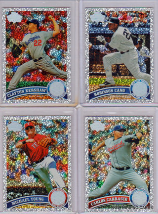 """4 pc Lot - 2011 Topps Diamond """"Sparkle"""" Parallel Cards, Clayton Kershaw #275, Cano, Young, Carrasco"""