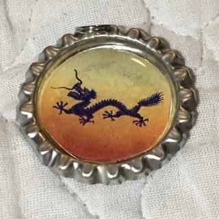 Asian Dragon in Flight, Digital Art Bottlecap Pendant