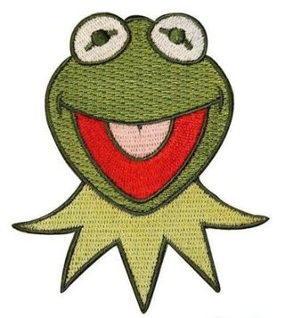 1 Vintage KERMIT FROG Iron ON Patch Green From Muppet Clothing Embroidery Applique Decoration