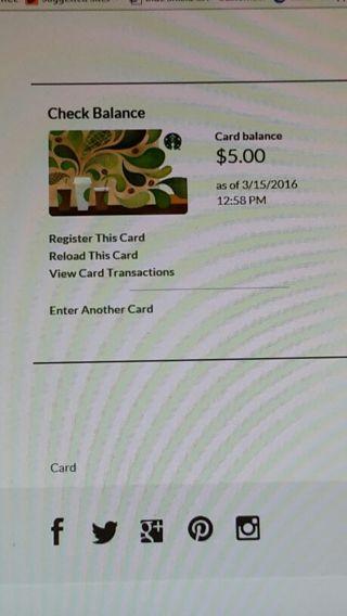 $5.00 Starbucks giftcard