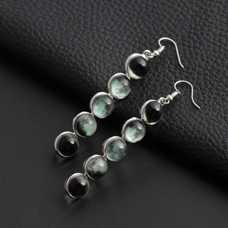 [GIN FOR FREE SHIPPING] Ethnic Glow In the Dark Glass Dome Moon Phase Earrings Moonstone Dangle