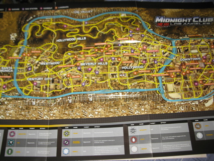 Free: xbox 360: midnight club los angeles huge wall map / poster.