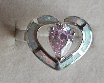 LOVELY STERLING SILVER PINK FIRE OPAL & ICY WHITE TOPAZ HEART RING SZ 9 FREE SHIP! FREE GIFT!