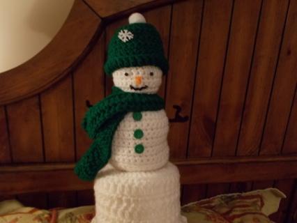 Snowman Bathroom Tissue Cover green