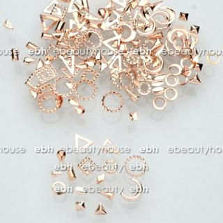 300 Pcs 15 Shapes Rose Gold Metal Nail Art Decorations Studs Nails Accessories
