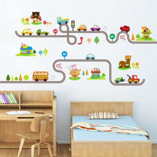 Transport Wall Stickers Train Ship Car Tree Decals Art Kids Baby Nursery Bedroom