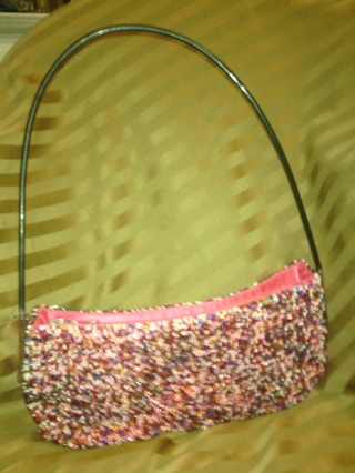 C Marie Multi Colored Pink Beaded Purse