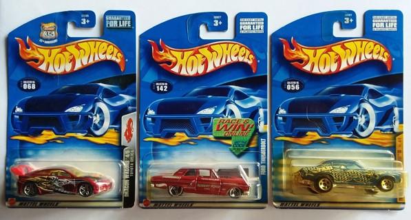 Lot of 3 Hot Wheels Toyota Celica Ford Thunderbolt '70 Chevelle SS