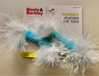 BNIP Two Light Blue BOOTS AND BARKLEY Feather Soft Cat Toys