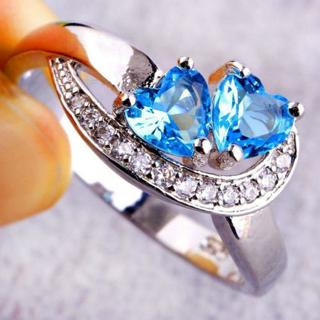 Women Ladies Blue Love Hearts Crystal Rhinestones Ring Wedding Engagement Rings