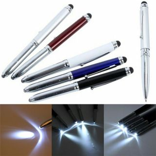 3 in 1 Touch Screen Stylus Ballpoint Pen With LED Flash Light For iPad Iphonejmb