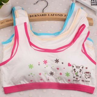 Puberty Girls Bra Cute Printing Underwear Student Cotton Vest Training Bra New