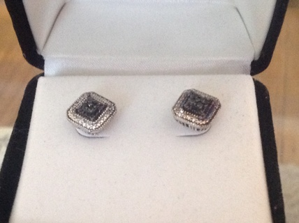 Free Kay Jewelers Genuine Black Diamond Earrings Sterling