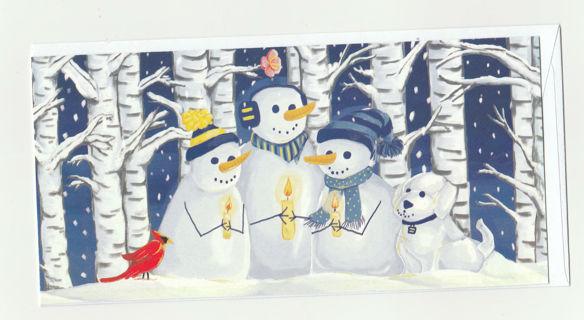 Christmas Card Unused With Envelope Snowmen