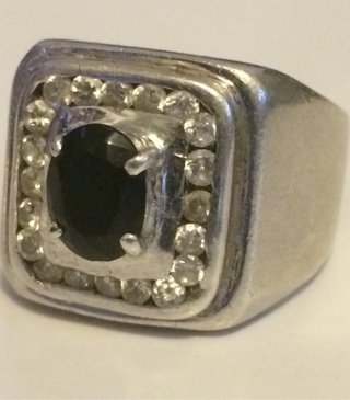 STERLING SILVER W/ CZ AND BLACK cz In Center Has Stamp 925