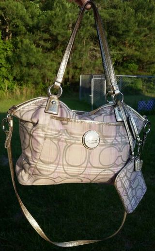 Coach Signature Plaid Pocket Tote 18443 Hand Bag & Wristlet ♡