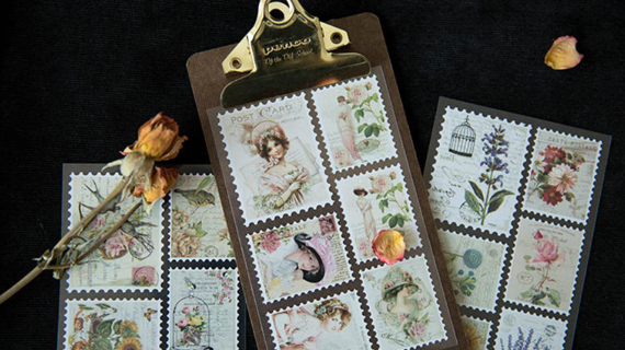 3 Sheets Victorian Stamp Stickers DIY Scrapbooking Journal