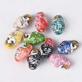 [GIN FOR FREE SHIPPING] 10Pcs Russian Matryoshka Doll Ceramic Porcelain Loose Beads