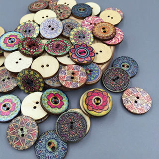 50Pcs/Lot Flower Picture Wood Button 2 Holes Mixed Color Apparel Sewing