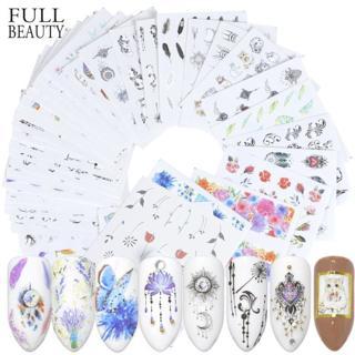 Full Beauty 40pc Water DIY Slider Nail Sticker Set Flower Black Necklace Tattoo Manicure Nail Art