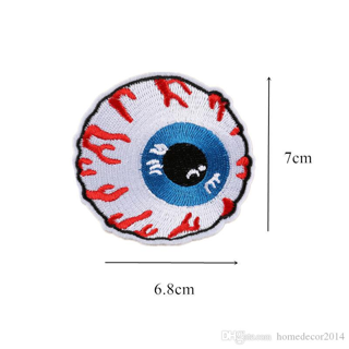 NEW IRON ON ADHESIVE PATCH SKATEBOARD Eye Ball Globe Embroidered FREE SHIPPING