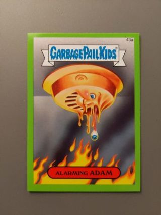 """2015 Topps Garbage Pail Kids Sticker Card with GREEN BORDER! • #43a """"ALARMING ADAM"""""""