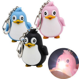 Creative Penguin Shaped LED Toys With Sound Mini Torch Flashlight Kids Toy Gift