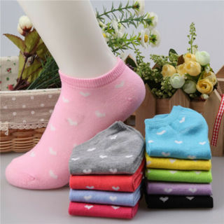 5 Pairs Womens Sports Cute Casual Cute Heart Ankle High Low Cut Cotton Socks