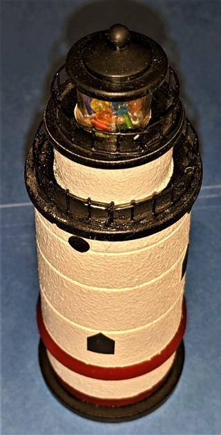 "Wooden Lighthouse Terrytown/Sleepy Hollow, NY is also a kaleidoscope - 6"" tall"