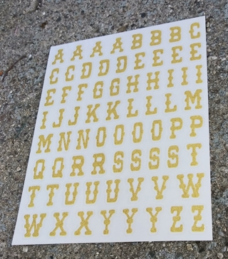 GOLD GLITTER LETTERS OF THE ALPHABET STICKERS
