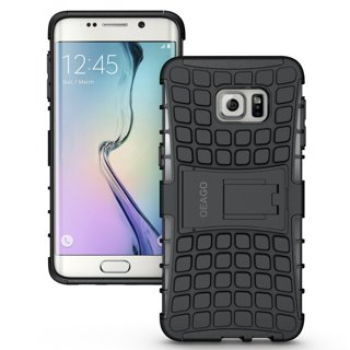 NEW SAMSUNG GALAXY s6 EDGE Hybrid Case Scratch-Resistant Shock Absorbent Tire non slip Grip Stand