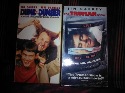 2 VHS movies it dumb and dumber and the Truman show