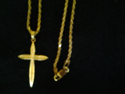14k gold Cross and 10k chain