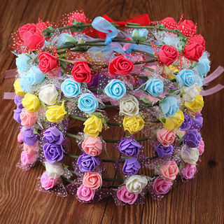 Women Rose Flower Crown Headband Wreath Party Wedding Garland Headwear