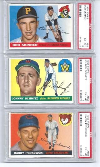 LOT OF 10 1955 BOWMAN & TOPPS  PSA VARIOUS GRADES CARDS (PSA 7, 6, OTHER) - FREE SHIPPING