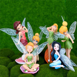 6pcs Figurine Craft Garden Ornament Miniature Flower Pixie Fairy Garden Decor