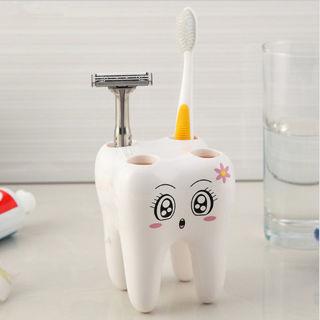 Teeth Shaped Shaving Razor Toothbrush Holder Stand Brush Rack Shelf 4 Hole