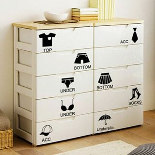 2Sets Wardrobe Black Vinyl The Decor PVC Wall Sticker Clothes Classification Decal