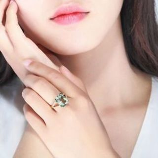 Created Tourmaline Fashion Gold Color Wedding Crystal Green Rings Jewelry Ring