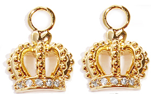 CROWN CHARM NEW 18 KARAT GOLD & CZ 2 PCS