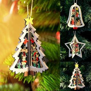 3Pcs 3D Xmas Tree Pendants Led House Hanging Wooden Christmas Charm Home Party Decor