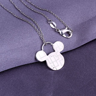 925 Silver Lovely Mouse Pendant Necklace