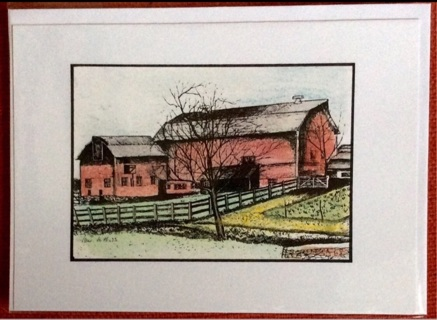 """RED DAIRY BARN - 5 x 7"""" art card by artist Nina Struthers - GIN ONLY"""